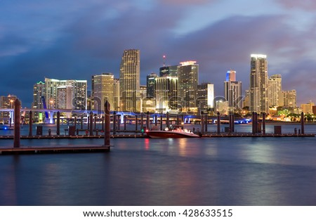 Skyline from Miami as seen from Watson Island - stock photo