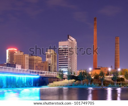 Skyline from Railroad Park in Birmingham, Alabama, USA - stock photo