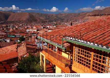 Skyline in Cuzco - stock photo
