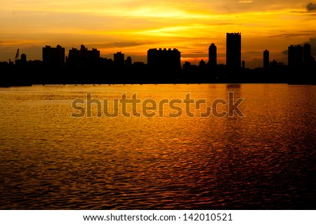 Skyline In Sunset In Hong Kong - stock photo