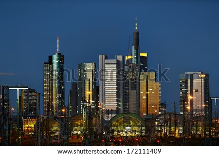 Skyline in the background from the railway station in Frankfurt am Main, Germany - stock photo