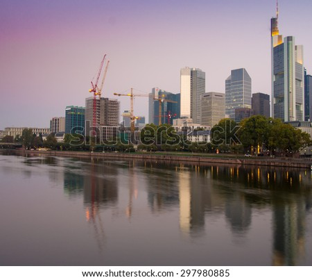 Skyline in the center of Frankfurt, Germany, at sunrise