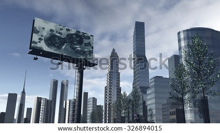 Skyline of a futuristic city with a video screen - stock photo
