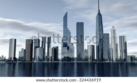 Skyline of a modern city. 3D rendering - stock photo