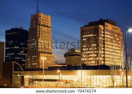 Skyline of Akron, Ohio, USA - stock photo