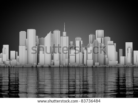 skyline of an abstract city - stock photo