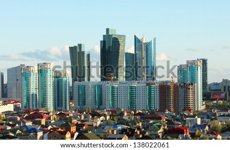 Skyline of Astana City of Expo 2017 - stock photo
