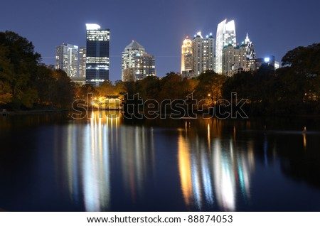 skyline of atlanta, georgia from piedmont park - stock photo