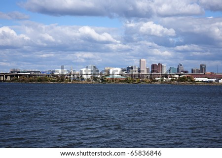Skyline of Baltimore Maryland from across the water - stock photo