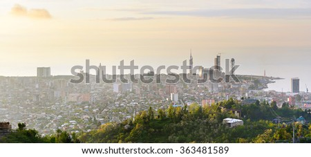 Skyline of Batumi city from viewpoint at sunset. Georgia