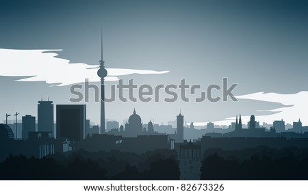 Skyline of Berlin, Illustration - stock photo
