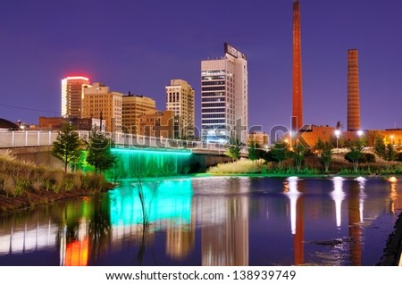 Skyline of Birmingham, Alabama at railroad park. - stock photo