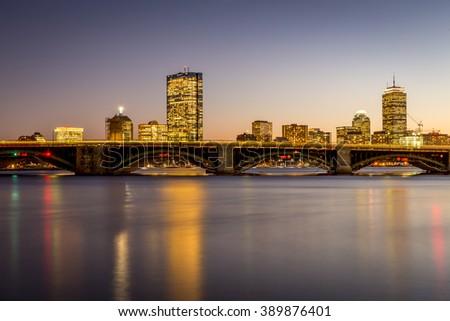 Skyline of Boston in Massachusetts, USA at sunset. - stock photo