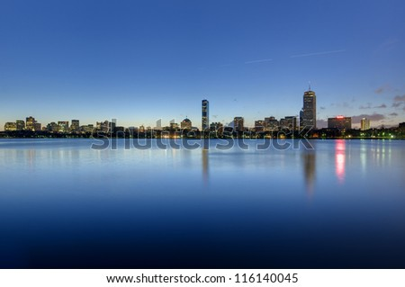 Skyline of Boston's Back Bay area seen at dawn - stock photo