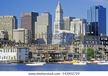 Skyline of Boston with Custom House Tower, Massachusetts - stock photo
