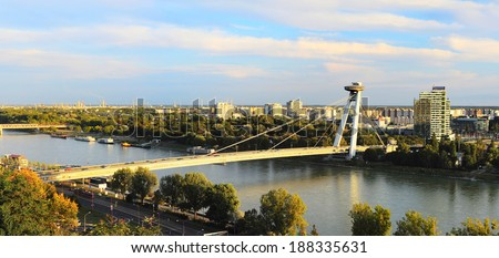 Skyline of Bratislava with Bridge of the Slovak National Uprising, commonly referred to as Most SNP or the UFO Bridge, and named Novy most - stock photo