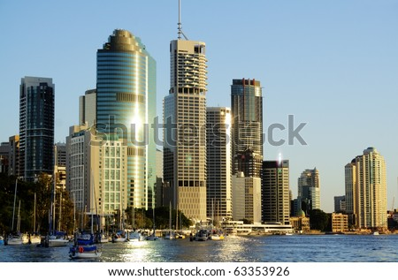 Skyline of Brisbane city CBD in Australia seen from the Brisbane River.