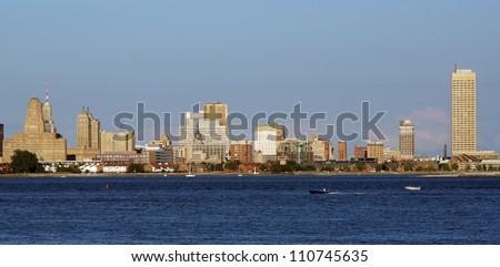 Skyline of Buffalo, NY, as seen from across the Niagara River from Canada - stock photo