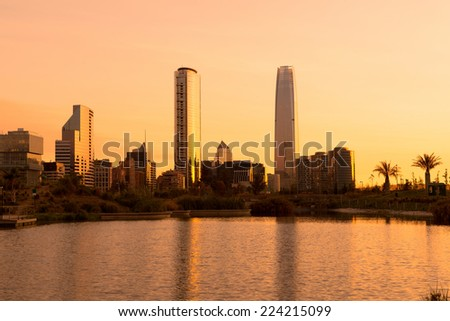 Skyline of buildings at Las Condes district, Santiago de Chile