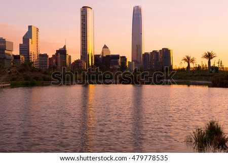 Skyline of buildings at Vitacura district, Santiago de Chile