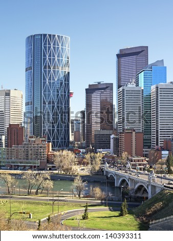 Skyline of Calgary, Alberta, Canada.  - stock photo