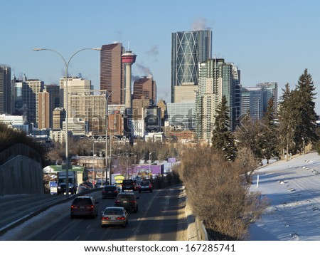 Skyline of Calgary, Alberta, Canada,  Picture taken December 7, 2013, on a very cold, but sunny winter day.