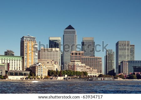 Skyline of Canary Wharf financial centre in London.