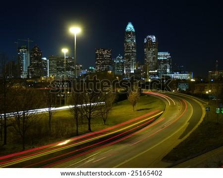 Skyline of Charlotte, NC - stock photo