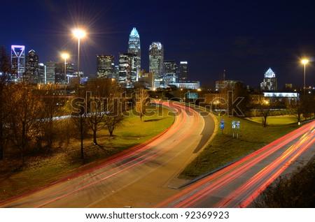 skyline of charlotte, north carolina - stock photo