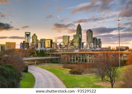 Skyline of Charlotte, North Carolina at dusk - stock photo