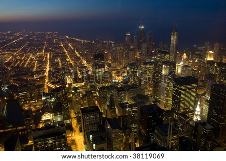Skyline of Chicago by night