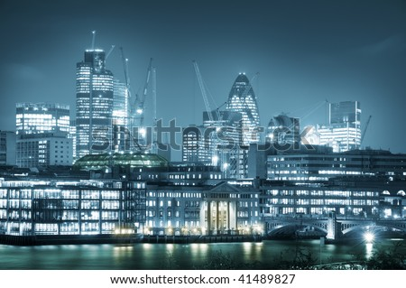 Skyline of City of London. City of London one of the leading centres of global finance.this view includes :Tower 42 Gherkin,Willis Building, and Stock Exchange Tower. - stock photo