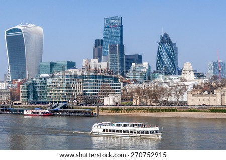 Skyline of city of London on a beautiful spring morning 09 April 2015 - stock photo