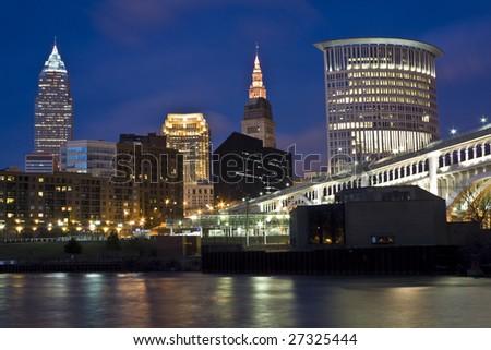 Skyline of Cleveland - evening time. - stock photo