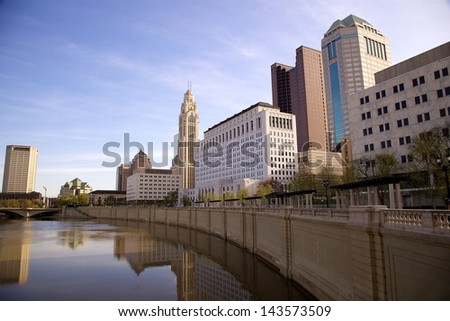 Skyline of Columbus, Ohio as seen from the Bicentennial Park - stock photo