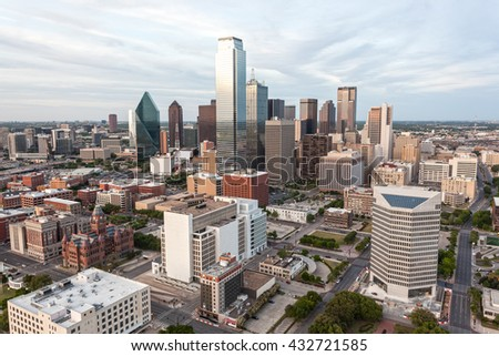 Skyline of Dallas downtown. Texas, United States