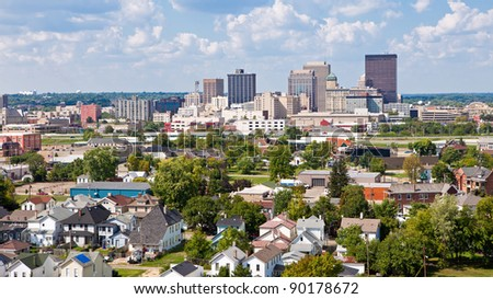 Skyline of Dayton, Ohio and Surrounding Neighborhoods - stock photo