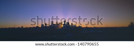 Skyline of Denver at sunset, CO - stock photo