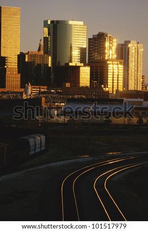 Skyline of Denver, Colorado at sunset - stock photo