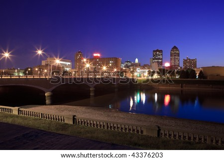 Skyline of Des Moines, Iowa at twilight. - stock photo