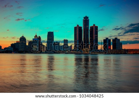 Skyline of Detroit City, photos are taken from Windsor, Ontario, Canada.