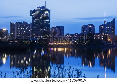 Skyline of Donau City - Vienna DC. Vienna, Austria.
