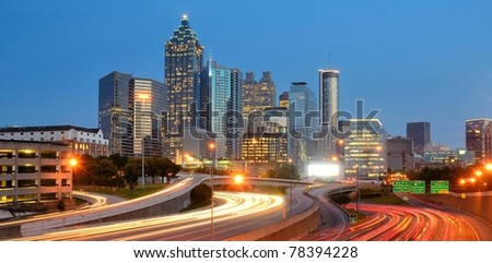 Skyline of downtown atlanta, georgia. - stock photo