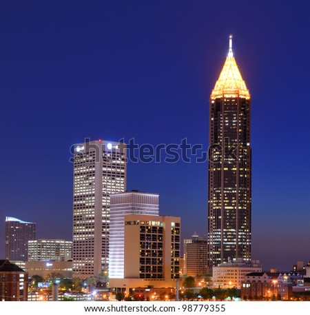 Skyline of downtown Atlanta, Georgia - stock photo