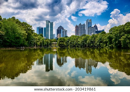 Skyline of downtown Atlanta, Georgia from Piedmont Park - stock photo