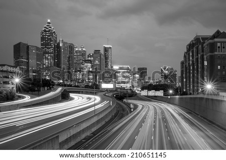 Skyline of Downtown Atlanta, Georgia, USA , black, white - stock photo