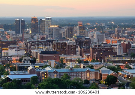 Skyline of downtown Birmingham, Alabama, USA. - stock photo