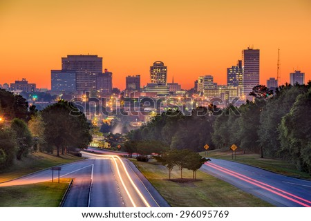 Skyline of downtown Columbia, South Carolina from above Jarvis Klapman Blvd. - stock photo