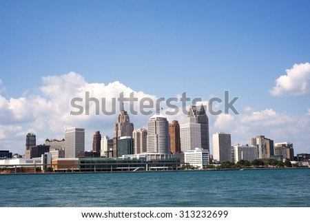 Skyline of downtown Detroit from Windsor, Ontario - stock photo