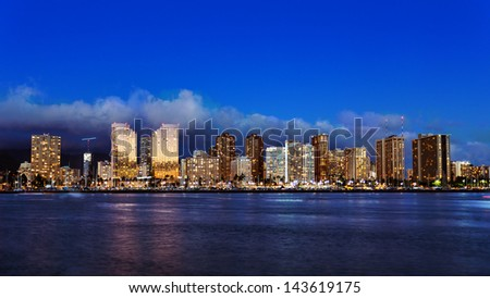 Skyline of downtown Honolulu, Oahu, Hawaii - stock photo